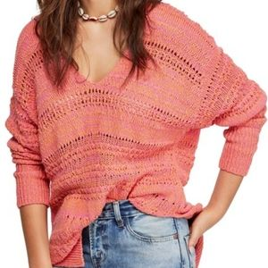 Free People Hot Tropics V-Neck Pullover Sweater